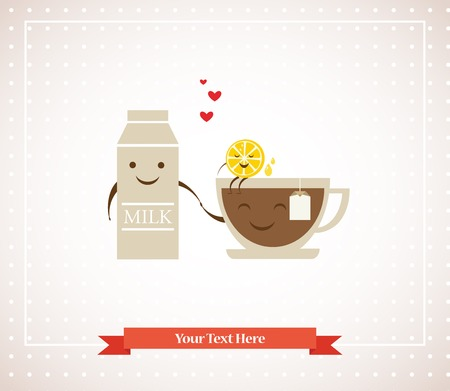 tea cup, milk and lemon hipster best friends Vector