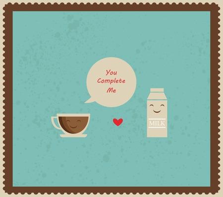 ribon: coffee and milk retro illustration