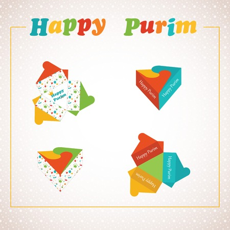 paper folding: Template of a Purim box for Purim Gift