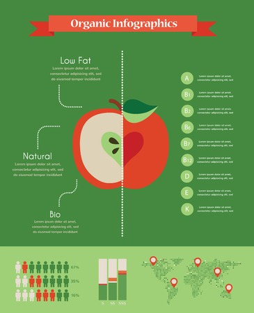 organic infogorganic infographics with apple and charts raphics with apple and charts Vector