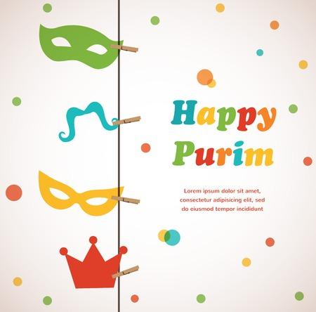 Jewish holiday Purim set  Vector illustration  Happy Purim