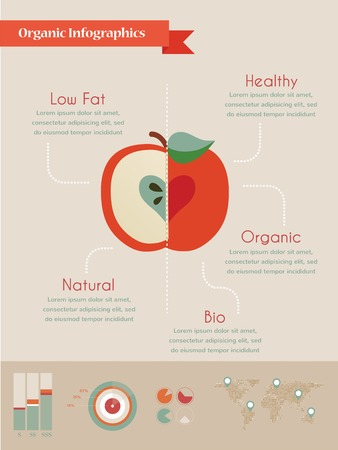 organic infographics with apple and charts , vector illustration Vector
