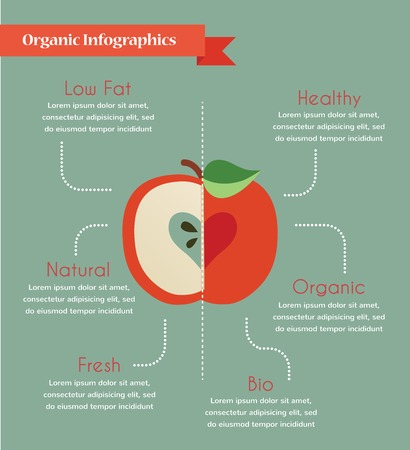 organic infogtaphics of fresh organic apples, vector illustration Vector