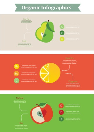 Health food infographic vith vitamin information. illustration Vector