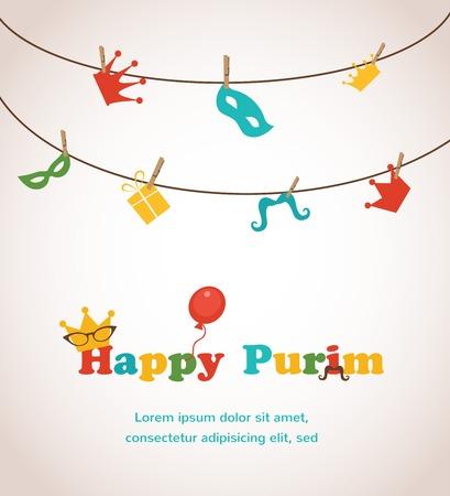 ユダヤ人の休日のプリム グリーティング カード デザイン。ベクトル イラスト  イラスト・ベクター素材