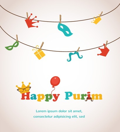 Jewish holiday Purim greeting card design. vector illustration Vector