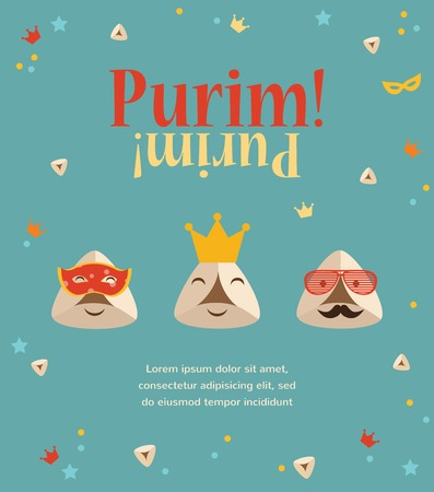 purim: Purim party invitation with hipster Haman Ears