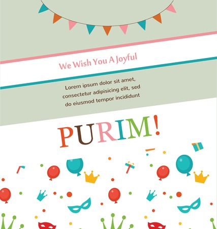 purim carnival party: Jewish holiday Purim hipster greeting card design