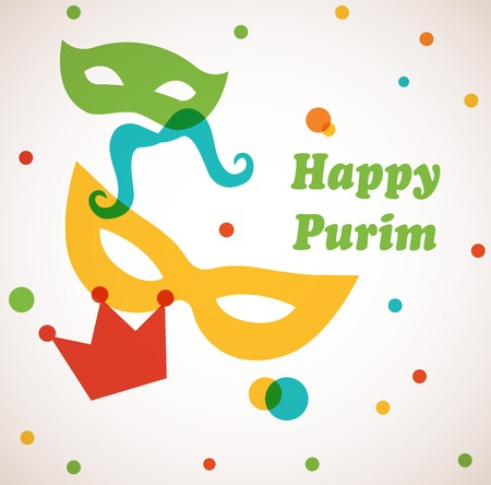 Jewish holiday Purim set . Vector illustration