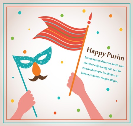 Happy Purim. Party or festival  Invitation design Vector