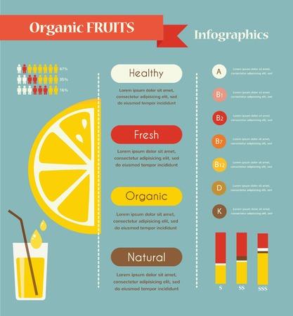 レモンと有機インフォ グラフィック フルーツ ベクトル イラスト