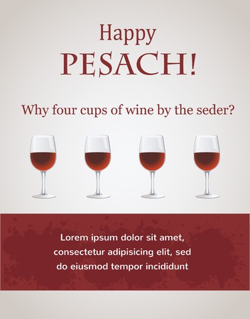 passover: Happy passover - 4 cups of wine for Seder