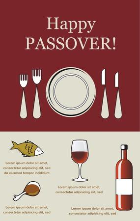 pesaj: Feliz Pascua Seder de Pesaj-con elementos de vacaciones