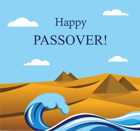 jewish: happy Passover- Out of the Jews from Egypt  Jewish Holiday Illustration
