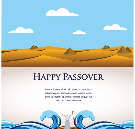 jews: happy Passover- Out of the Jews from Egypt  illustration