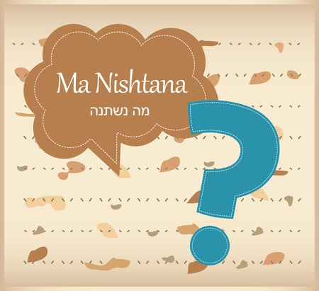 seyder: passover card  haggadah question on matza background Illustration