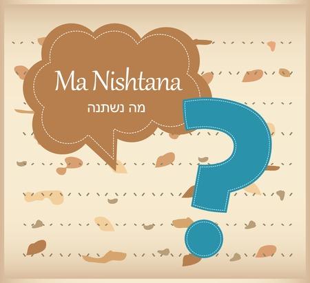 matza: passover card  haggadah question on matza background Illustration