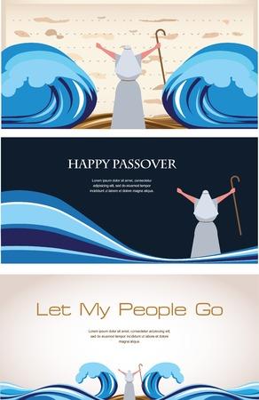 過越祭のユダヤ人の休日の 3 つのバナー。図  イラスト・ベクター素材