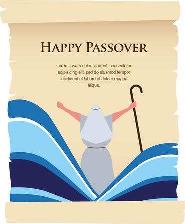 pesach: passover invitation on acient card. let my people go