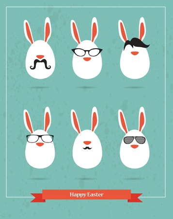 Happy Hipster Easter - set of stylish BUNNY icons. illustration Vector