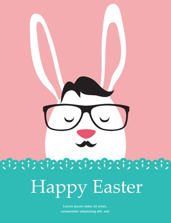 Background and greeting card with hipster Easter rabbit. illustration Vector