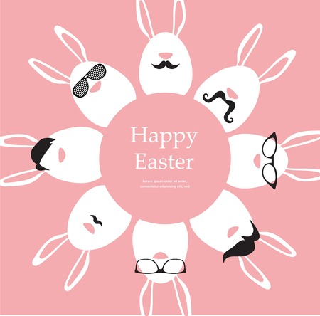 Happy Hipster Easter - set of stylish bunnyeggs icons. illustration Vector