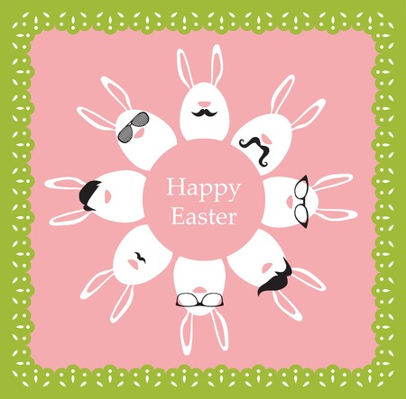 Happy Hipster Easter - set of stylish bunnyeggs icons. Retro card Vector