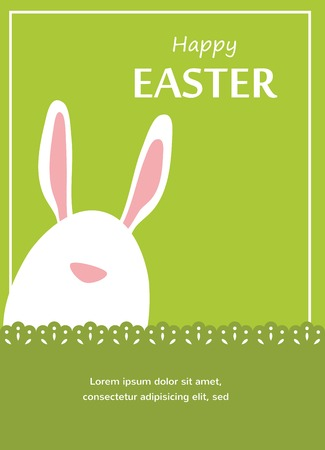 rabbit hole: Vector Easter bunny looking out a green retro background , illustration