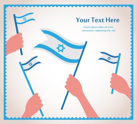 Buon giorno dell'indipendenza di Israele. mano che tiene una bandiera