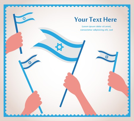 Happy Israeli independence day. hand holding a flag Vector