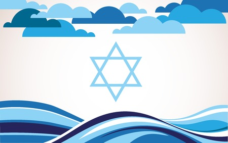 flag of israel: abstract israel flag as sea and blue sky . illustration Illustration