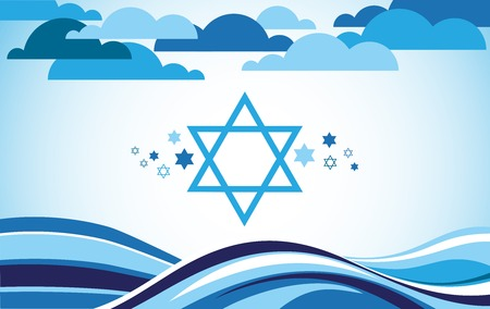 abstract israel flag as sea and blue sky . illustration
