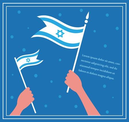 independencia: Feliz d�a de la independencia de Israel. mano que sostiene una bandera