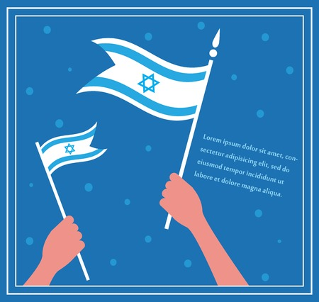 flagpole: Happy Israeli independence day. hand holding a flag