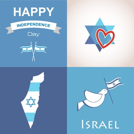 jewish star: Four icons of Israel. happy independence day. illustration