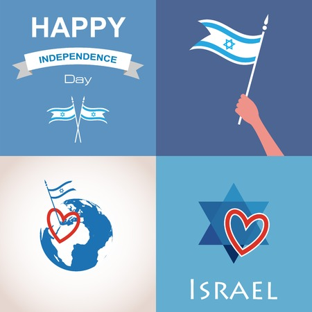 Four icons of Israel. happy independence day. illustration Vector