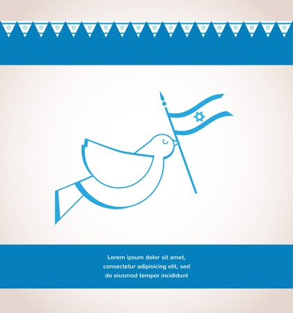 Peace dove holding Israeli flag. Independence day Vector