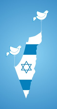 bird of israel: white dove holding map of Israel. happy independence