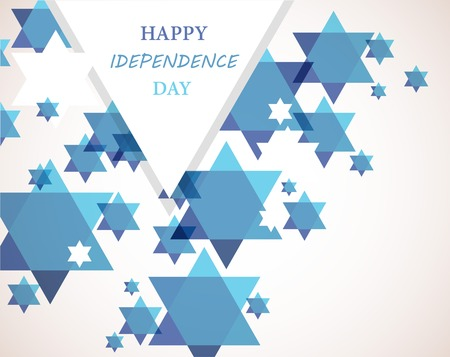 Independence day of Israel. David star background. illustration Çizim
