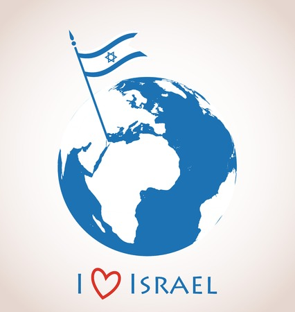 flag of israel: I love Israel. Globe icon with  with Israel flag placed on  Israel country