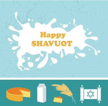 Card for Shavuot Jewish holiday with a splash of milk. Vector illustration.