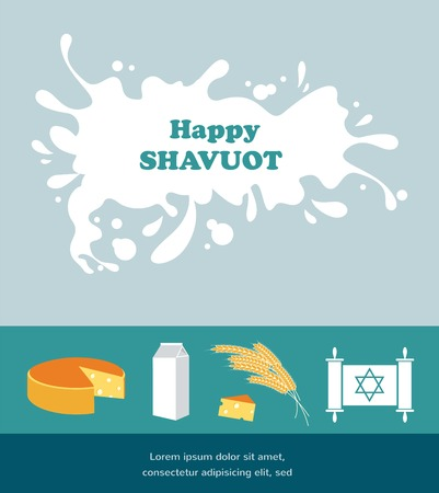 shavuot: Card for Shavuot Jewish holiday with a splash of milk. Vector illustration. Illustration