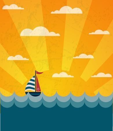 say hello: Say Hello to Summer, retro illustration of a boat and wavy sea . illustration Illustration