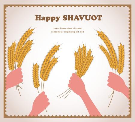 shavuot: happy Shavuot, Jewish holiday card.