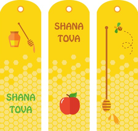 apple and honey: Set of honey labels, badges and design elements for Rosh Hashana, jewish new year Illustration