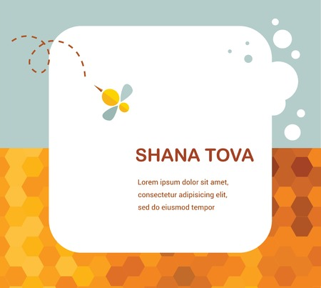 rosh: Happy New Year Hebrew Rosh Hashana greeting card with leaking honey illustration