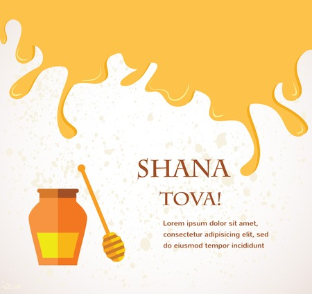 Happy New Year in Hebrew Rosh Hashana greeting card with leaking honey illustration   Vector