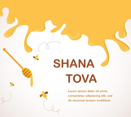 Happy New Year in Hebrew Rosh Hashana greeting card with leaking honey illustration   向量圖像