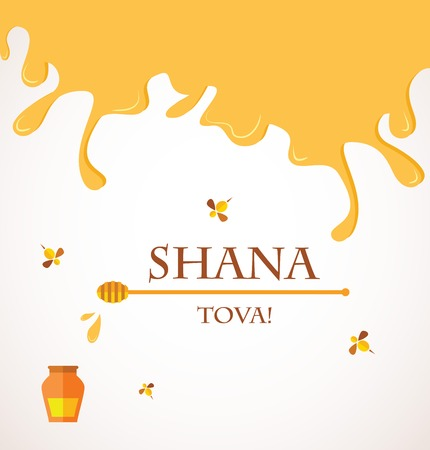 rosh: Happy New Year in Hebrew Rosh Hashana greeting card with leaking honey illustration   Illustration