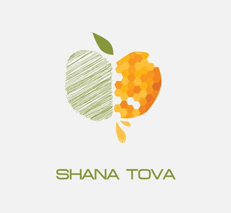 apple icon, sketched side and honey  side  illustration